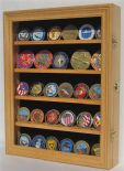 Coin, Medal or Casino Poker Chip Display Stand, Holds 30, Oak Wood Finish